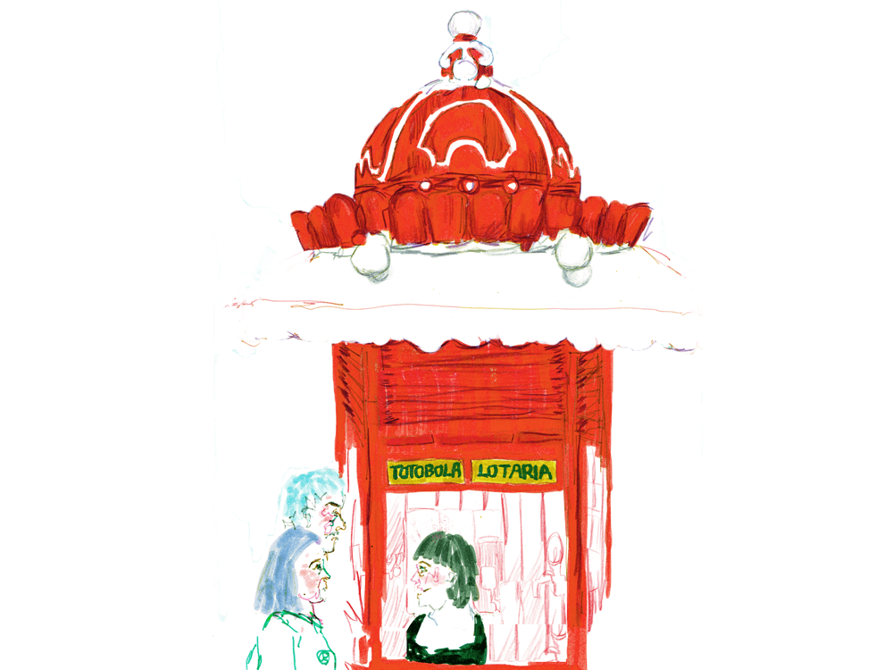 Bright red kiosk in Lisbon, Portugal